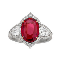 Untreated 3.02 Carat Ruby Diamond Gold Platinum Ring