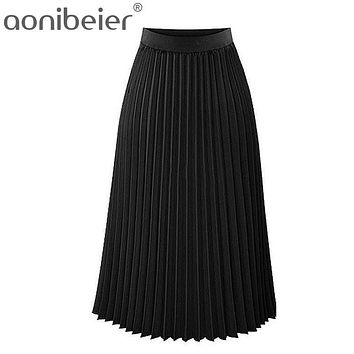 Spring Women Skirts New 2017 Fashion Women's High Waist Pleated Solid Ankle Length Skirt Pleated Black Clothing Ankle Length