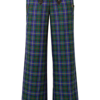 Opening Ceremony - Leather-trimmed tartan flannel wide-leg pants
