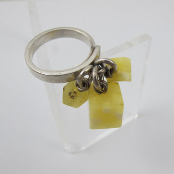 Sterling Amber Ice Cubes Ring, Egg Yolk Butterscotch Amber Square Dangle Charms, Amber Moda Mariusz Gliwinski Designer Amber Jewelry, 7.5