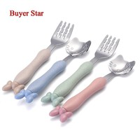 4 colors Children Tableware set/ Cute Cartoon Pattern Hello kitty Cutlery Wheat Straw Kid Silverware Mickey Fork Dinnerware Set
