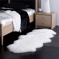 Sheepskin Rug Double Pelt Natural White Fur 2x6: Furniture & Decor