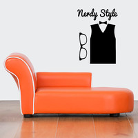 Wall Decor Vinyl Sticker Room Decal Art Nerdy Style Geek Clothes Fashion Shirt Glasses 1206