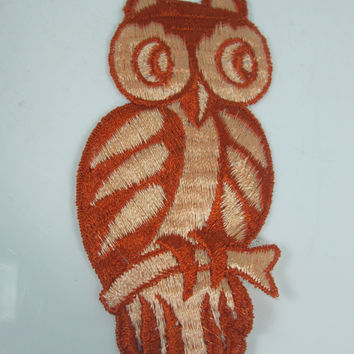 XL Vintage Embroidered Owl Sew On Patch Orange and Peach