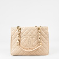 """Chanel Beige Caviar Leather Quilted 'CC' GST """"Grand Shopping Tote"""" Bag"""