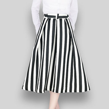 Striped High Waist A-Line Skirt