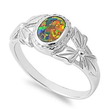 Sterling Silver Oval Filigree 9MM Black Lab Opal Ring