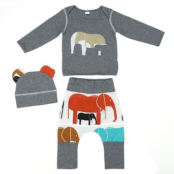 Toddler Elephant Pattern Hoodie Tops + Long Pants