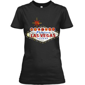Welcome to Las Vegas Nevada Vintage Sign Souvenir T-Shirt Ladies Custom