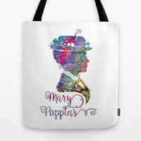 Mary Poppins Portrait Silhouette Tote Bag by Bitter Moon