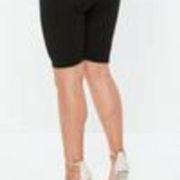 Missguided - Curve Black Ribbed Cycling Shorts