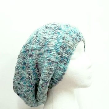 Knitted oversized hat shades of aqua 5237