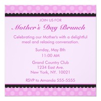 Pink Polka Dot Mother's Day Brunch Invitation