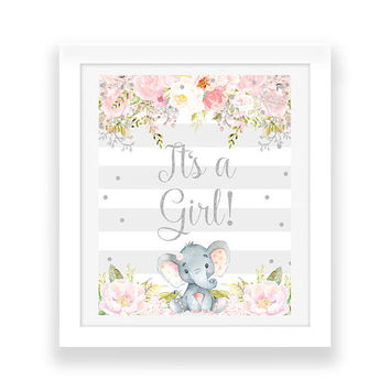 Pink and Gray Its a Girl Baby Shower Decor - Elephant Party Decorations - Digital Download - Floral Baby Shower Sign - Party Printables