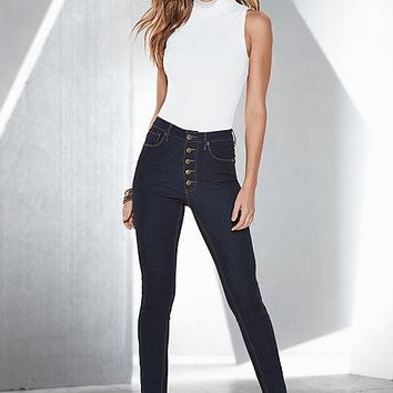 Mock neck top, high waist jean, hardware sandal