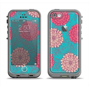 The Pink & Blue Floral Illustration Apple iPhone 5c LifeProof Fre Case Skin Set