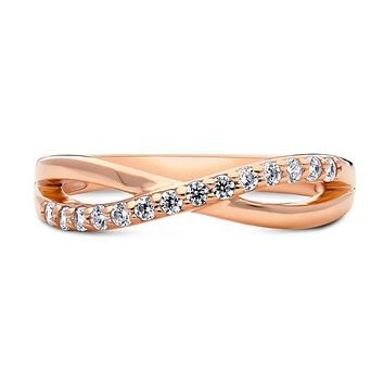 14K Rose Gold .98TCW Russian Lab Diamond Wedding Band Ring