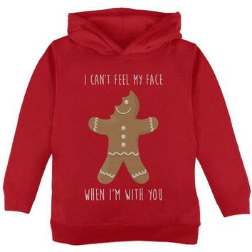 PEAPGQ9 Christmas Gingerbread Man Can't Feel My Face Toddler Hoodie