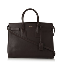 Saint Laurent Brown Calf Leather Classic Small Sac De Jour Satchel Handbag