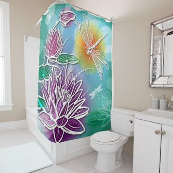 Cute Dragon Fly Pretty Summer Colors Modern Floral Shower Curtain