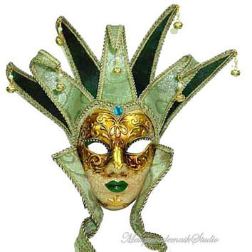 Exquisite Venetian Green Masks - Masquerade Women  Full Face Mask