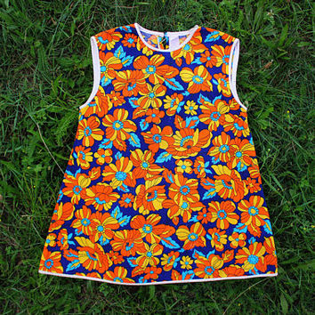 1960's Hippie Dress / Bright Floral Cotton USSR Vintage Printed Toddler Summer Dress /  Sleeveless Soviet Shift Sun Dress, Age 2,5 - 3 Y.O.