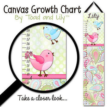 Kid's GROWTH CHART Personalized Paisley Birdie Girls Bedroom Baby GC0163