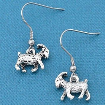 Goat earrings in silver toned metal.