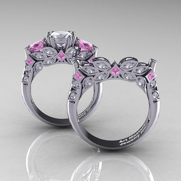 Classic 18K White Gold Three Stone Princess White and Light Pink Sapphire Solitaire Engagement Ring Wedding Band Set R500S-18KWGLPSWS