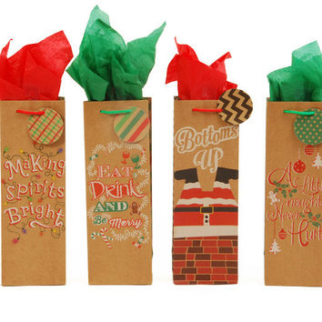 Holiday Gazing Kraft Gift Bags with Glitter [Bottl Case Pack 144