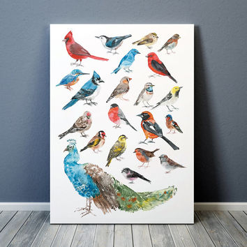 Cute bird poster Nursery watercolor Animal art print 1ACW1