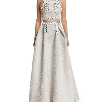 Carolina Herrera Sleeveless Flocked Silk Faille Crop Top & Jewel-Embellished Flocked Ball Skirt