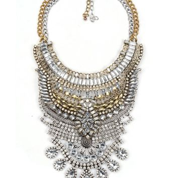 Gold Metal and Crystal Necklace