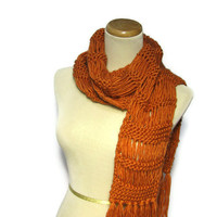 Hand Knit Scarf, Orange Scarf, Pumpkin Scarf, Knit Scarf, Winter Scarf, Wool Scarf, Drop Stitch Scarf, Fiber Art, Womens Scarf,