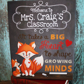 Teacher Personalized Classroom Canvas - It Takes a Big Heart to Shape Growing Minds Teacher End of Year Christmas Gift TCS009
