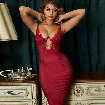 Women Sexy Deep V-Neck Satin Lace Side Mesh Dress