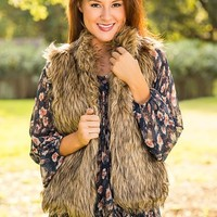 One For The Record Faux Fur Vest-Brown - NEW ARRIVALS