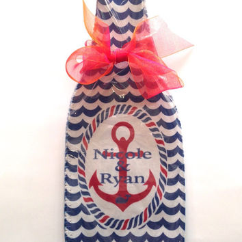 Personalized Nautical Wine Koozie Great Birthday or Wedding Gift for the Preppy Wine lover. Hostess gift Bridesmaid or Bachelorette gift too