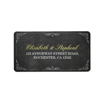 Chic Black Chalkboard Floral Wedding Address Label