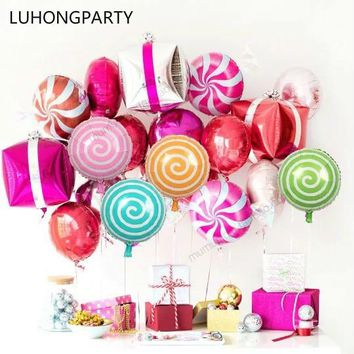 10pcs/lot colorful candy foil balloons 18 inch round lollipop aluminum balls wedding birthday baby party decoration LUHONGPARTY