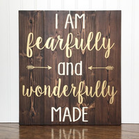 I Am Fearfully And Wonderfully Made Wood Sign - Metallic Gold - Cream - Dark Stain - Bedroom - Home - Decor