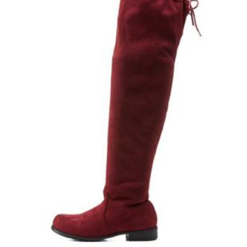 Burgundy Bamboo Drawstring Over-the-Knee Boots