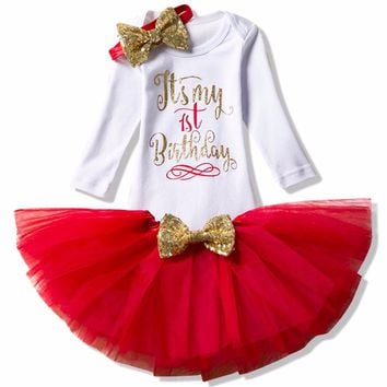 Winter Long Sleeve Baby Clothing Sets Little Baby Girl 1st Birthday Anniversary Outfits Tutu Bebes Sets Infant Christening Suit