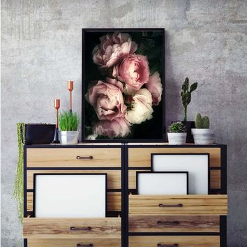Posters and Prints Blush Flower Pink Rose Nordic Wall Art Canvas Canvas Painting Picture for Living Room scandinavian Decor