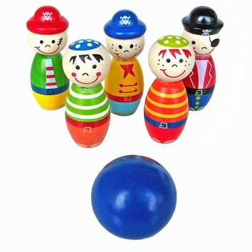 DCCKU7Q Children Toys Wooden Bowling Ball Skittle Funny Shape for Kids Game Wooden toys for children kids toy Bowling Sports
