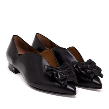 LAURENCE DACADE | Isa Flats with Bow Embellishment | brownsfashion.com | The Finest Edit of Luxury Fashion | Clothes, Shoes, Bags and Accessories for Men & Women