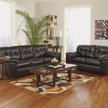 Ashley Furniture 20101-38-35 2 pc alliston collection chocolate bonded leather upholstered sofa and love seat set
