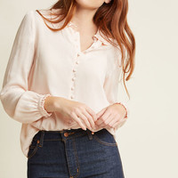 Ladylike Button-Up Top in Blush