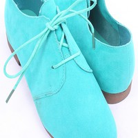 MINT FAUX SUEDE LACE UP LOAFER STYLE FLATS