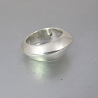 Sterling Silver Modernist Ring. Space Age Wedge Shaped Statement Ring. Unisex Men Women Ring.